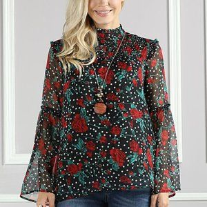 NWT Suzanne Betro Boutique Floral Top